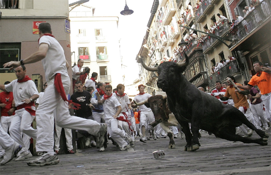 A bull slides upon entering the Estafeta curve during the last day of the running of the bulls at the San Fermin festival in Pamplona July 14, 2007.  REUTERS/Eloy Alonso (SPAIN)